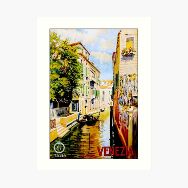 VENICE CANALS; Vintage Travel Advertising Print Art Print