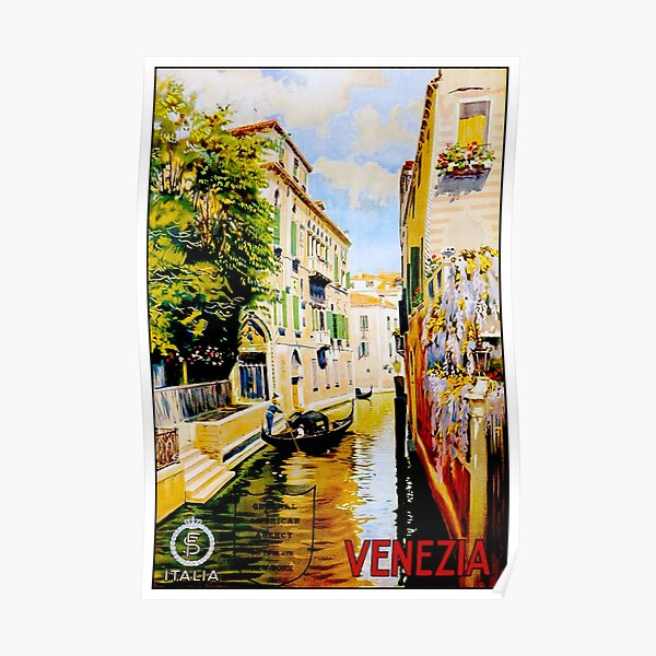 VENICE CANALS; Vintage Travel Advertising Print Poster