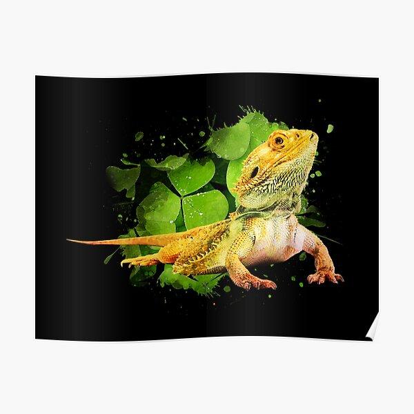 Bearded Dragon Reptile Keeper Lizard Watercolor Poster