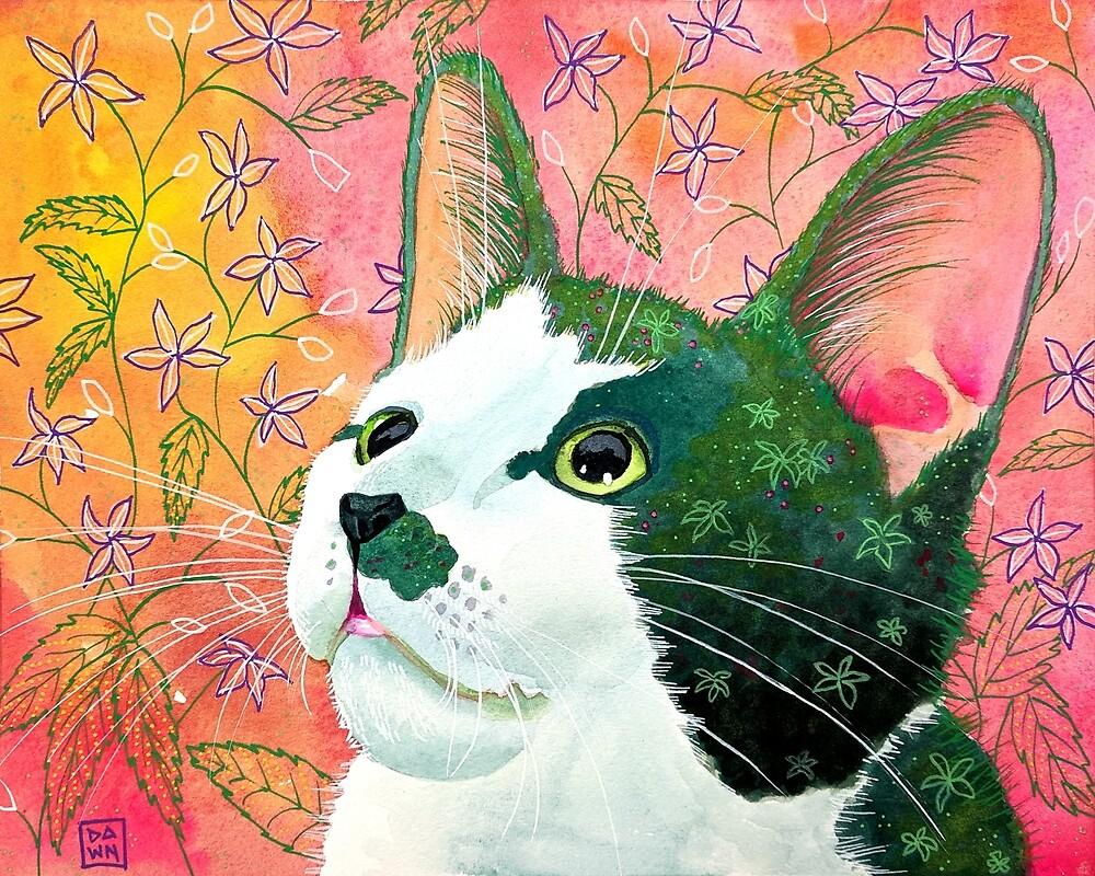 Colorful green and pink tuxedo cat painting in an energetic pop art style with citrusy floral background by Dawn Pedersen