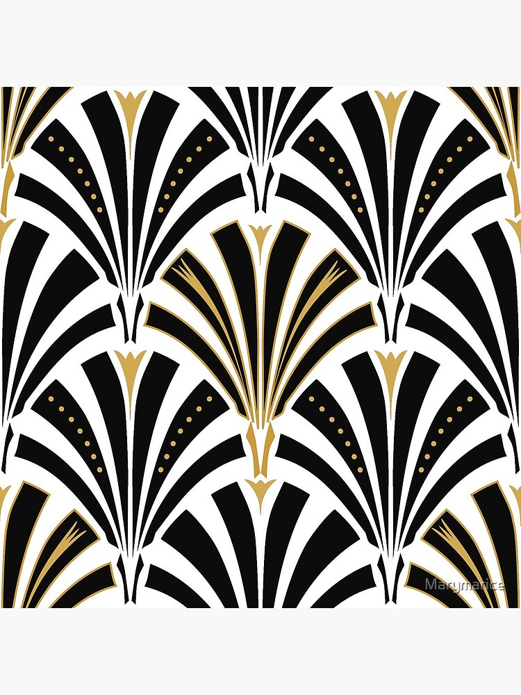 Art Deco fan pattern, black and white by Marymarice