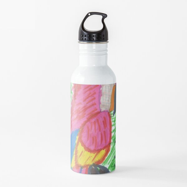 Pink Bird of Tropical Paradise Water Bottle