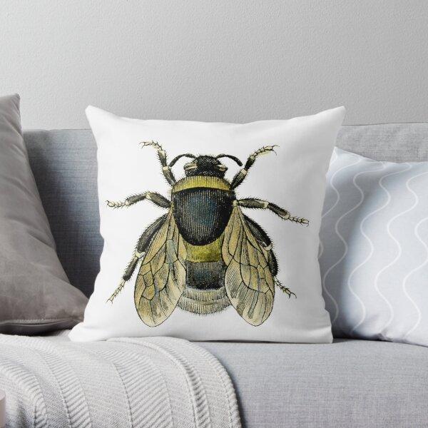 antique typographic vintage honey bee Throw Pillow
