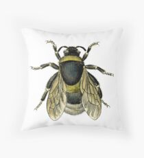 antique typographic vintage honey bee Throw Pillow