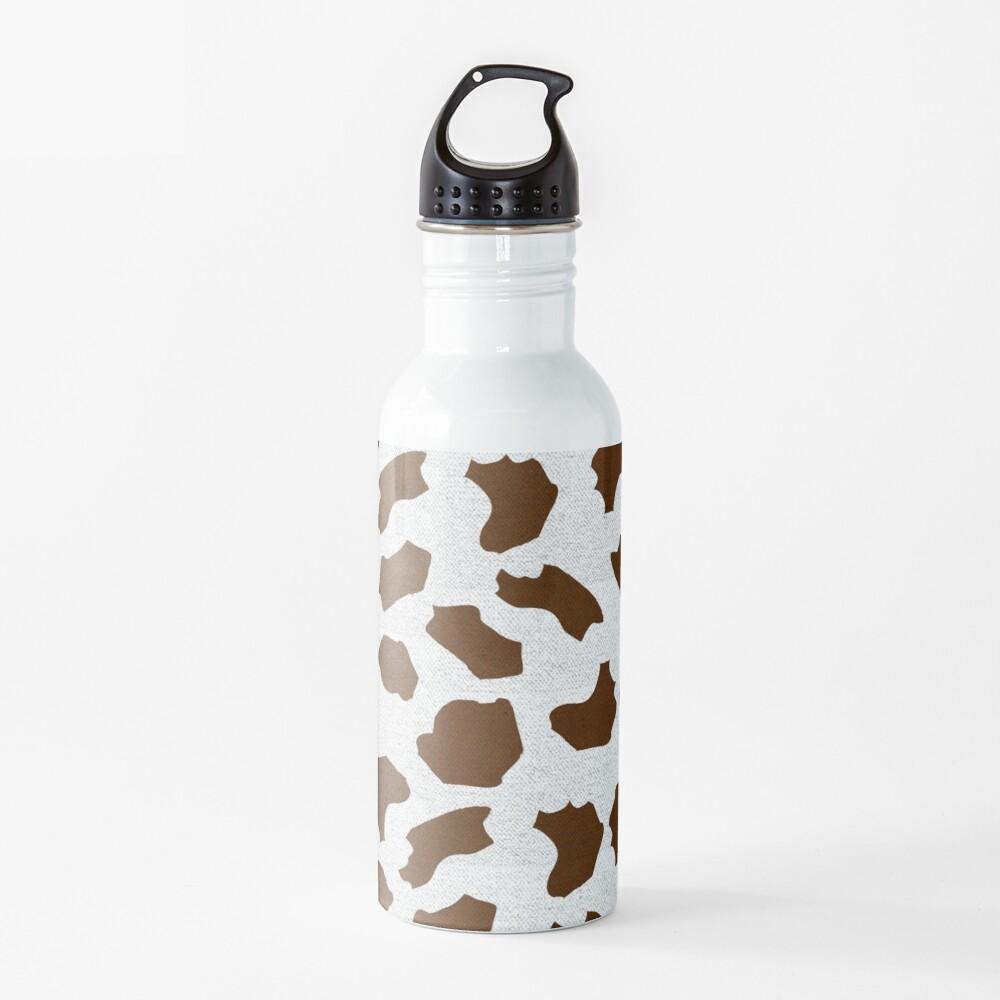 Brown Cow Spots Pattern Water Bottle