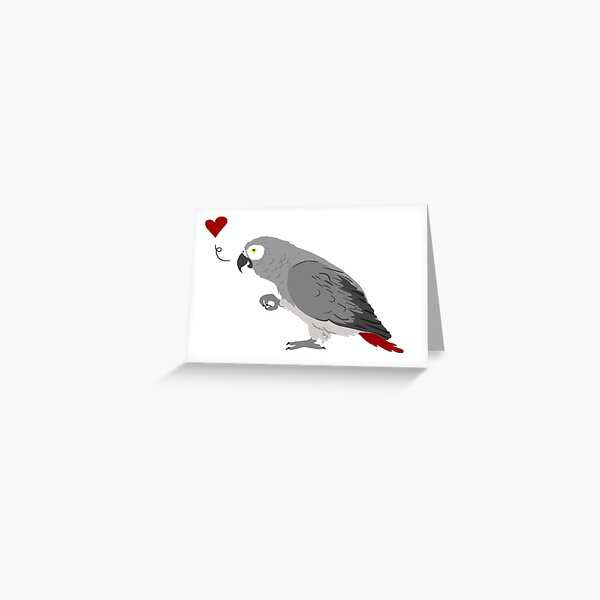 African Grey Love Greeting Card