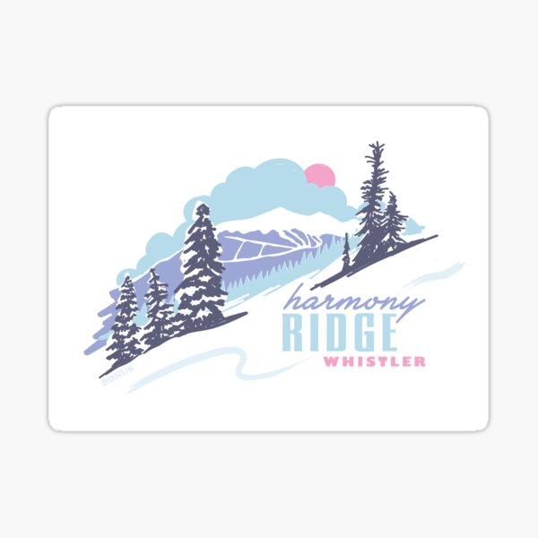 Harmony Ridge Whistler - retro 90s souvenir skiing and snowboarding Sticker