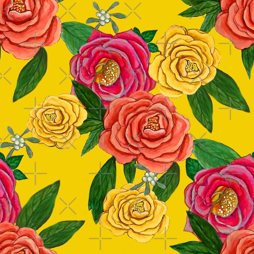 Peony and mistletoe berries on Yellow, New Year floral for 2021 by MagentaRose