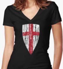 Crusader Knights Templar Cross Women's Fitted V-Neck T-Shirt