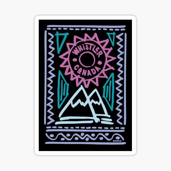 Whistler Sunshine - fun retro 80s hand drawn mountains Sticker