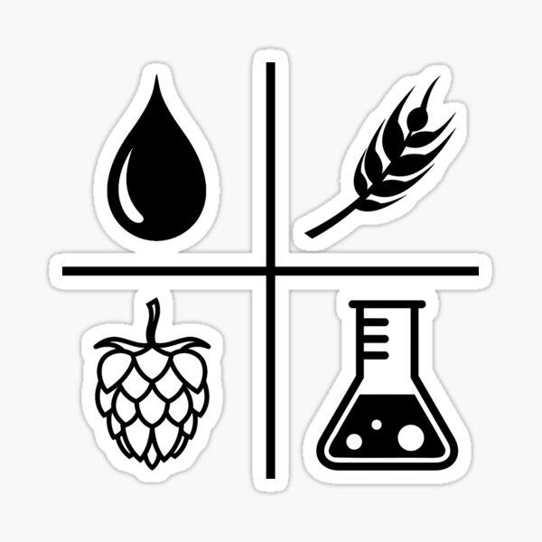 Home brew beer, water, barley, hops, yeast Sticker