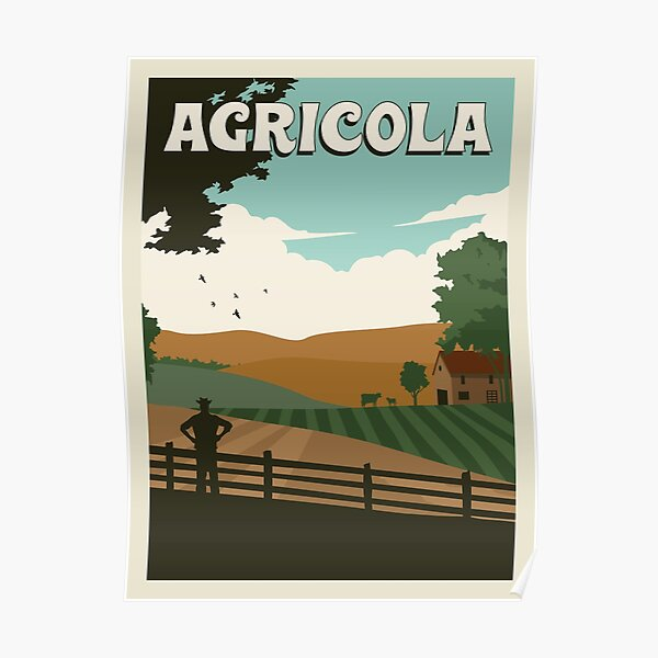Agricola Board Game- Minimalist Travel Poster Style - Gaming Art Poster