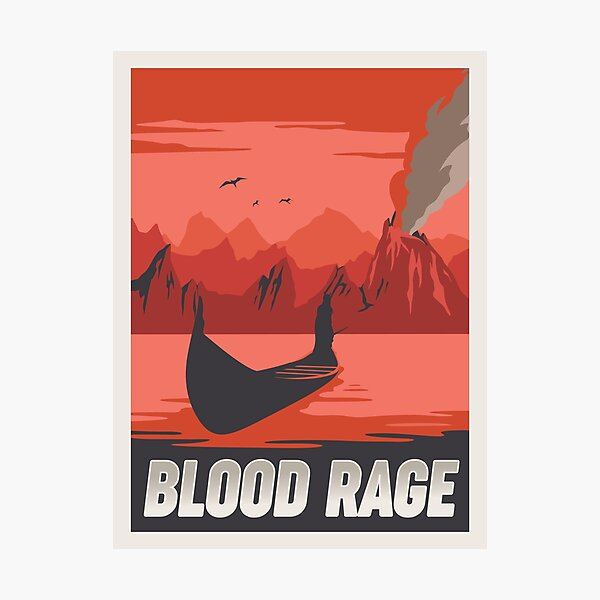 Blood Rage Board Game- Minimalist Travel Poster Style - Gaming Art Photographic Print
