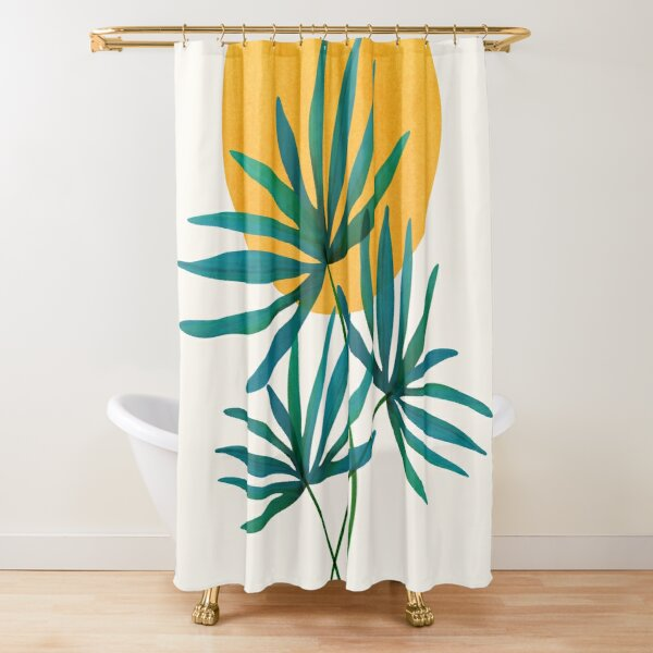 Little Palm Retro Illustration Shower Curtain