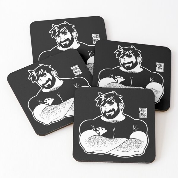 ADAM LIKES CROSSING ARMS - LINEART Coasters (Set of 4)