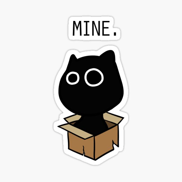The cat and the box. Sticker