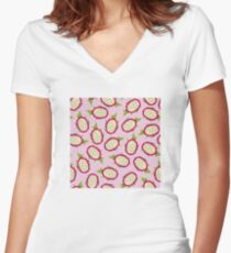 Dragon fruit on pink background Fitted V-Neck T-Shirt