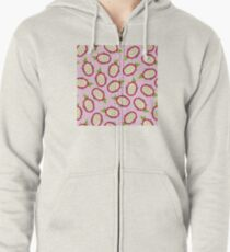 Dragon fruit on pink background Zipped Hoodie