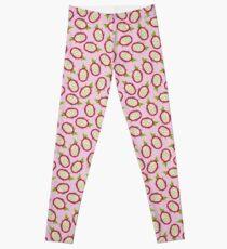Dragon fruit on pink background Leggings