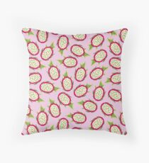 Dragon fruit on pink background Throw Pillow