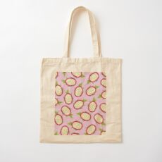 Dragon fruit on pink background Cotton Tote Bag