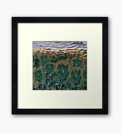"""""""Green Flowers"""" - Abstract Realism Framed Print"""