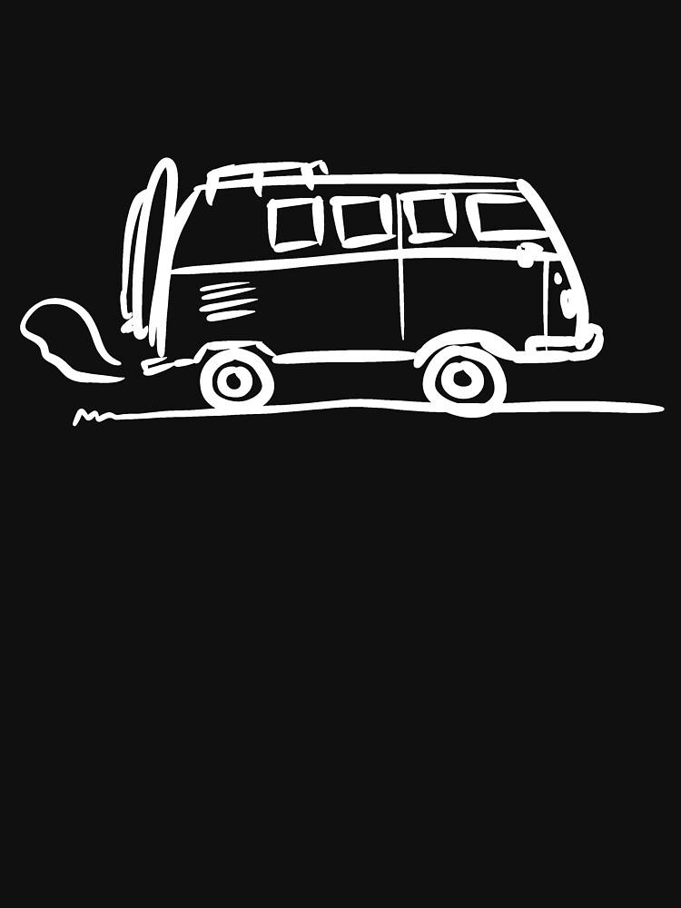 Ästhetische Bus Urlaubstrip Illustration | Surfer Geschenk Idee (weiß) von newarts