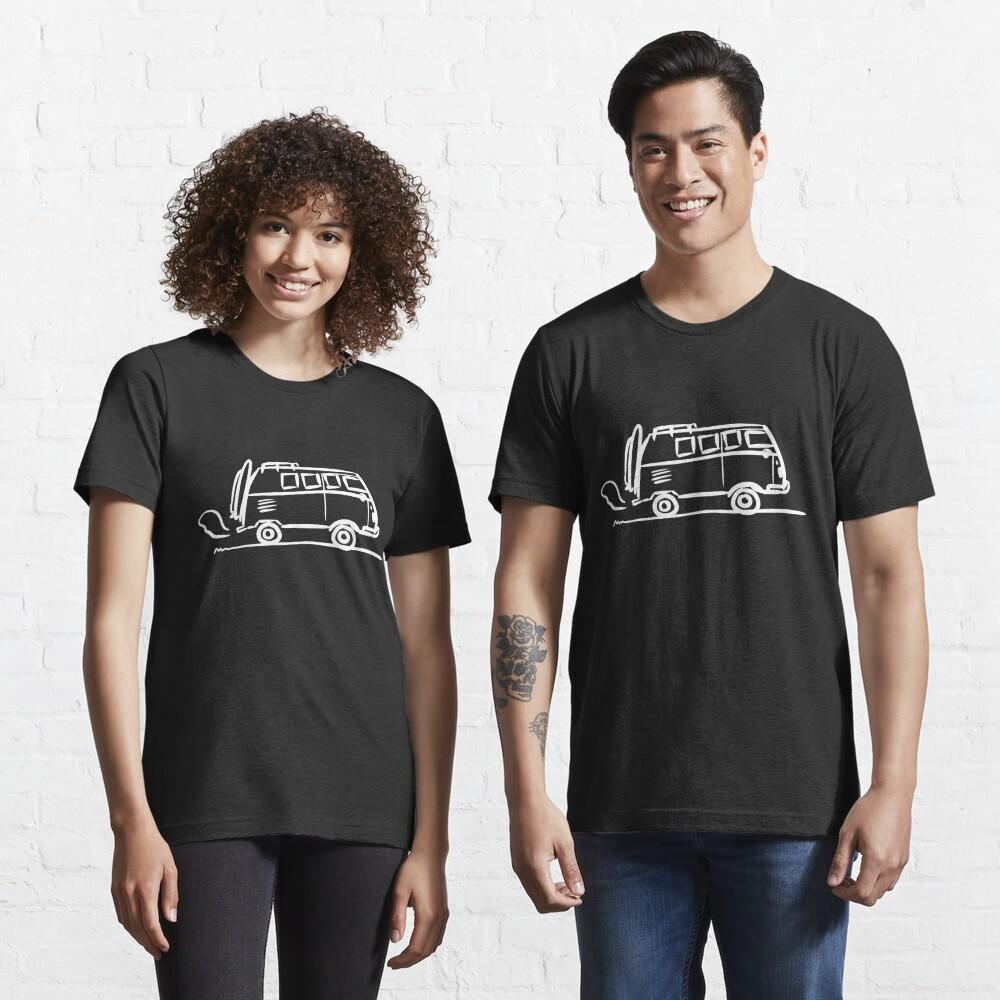 Ästhetische Bus Urlaubstrip Illustration | Surfer Geschenk Idee (weiß) Essential T-Shirt