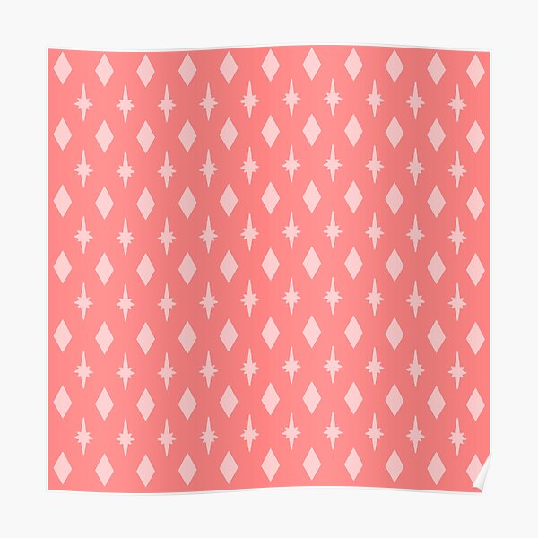 Mid-Century Diamonds and Starbursts in Pink Poster