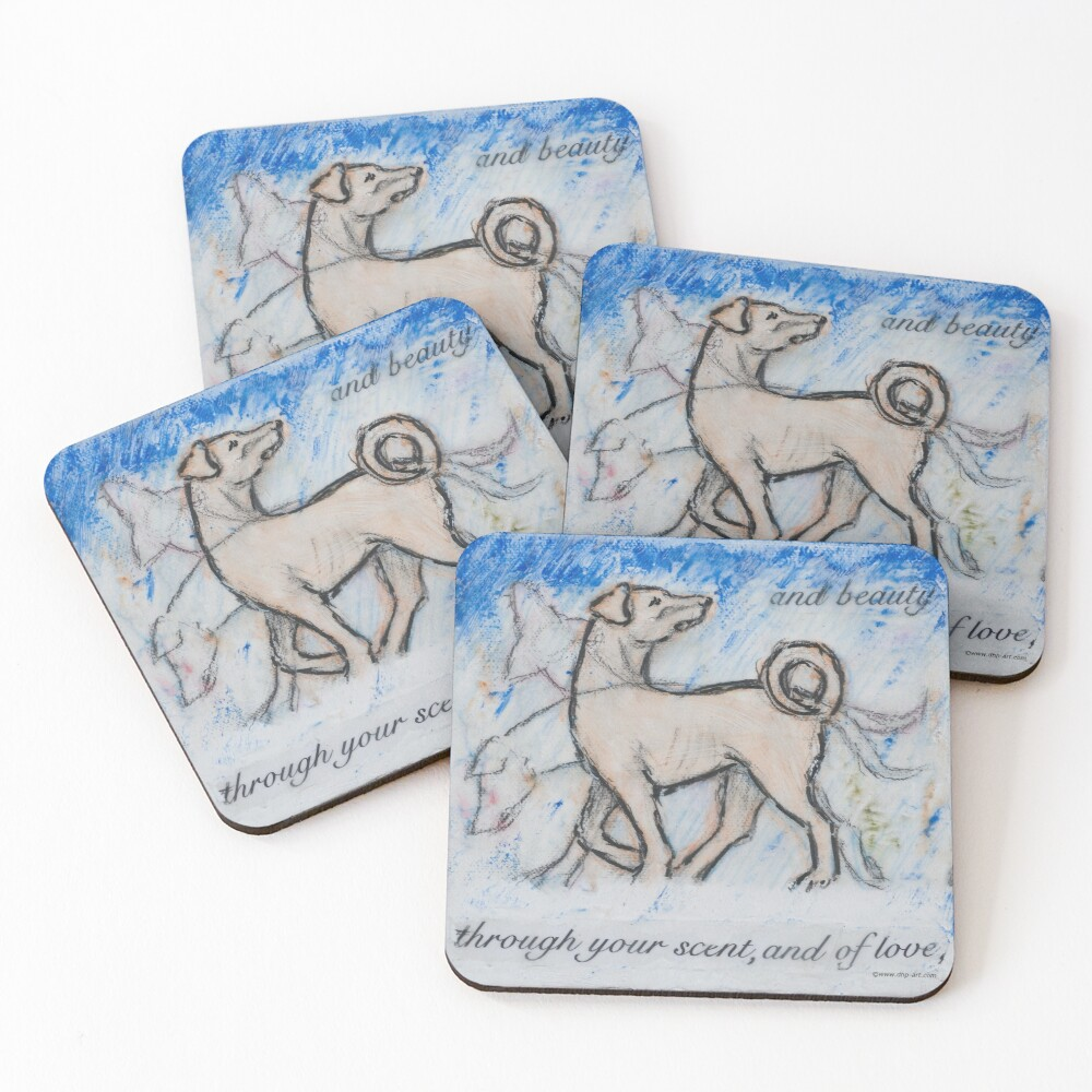 Ghost Dog #2 © Deborah Howard-Page, All Rights Reserved. www.dhp-art.com Coasters (Set of 4)