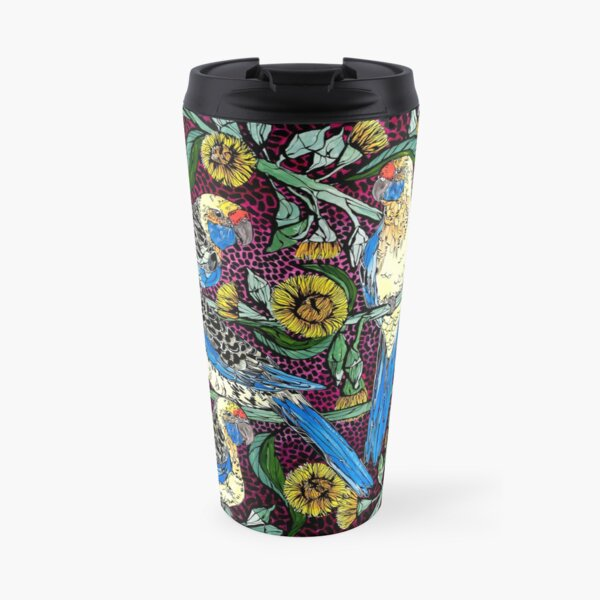 Yellow Rosellas and Flowering Gum Travel Mug