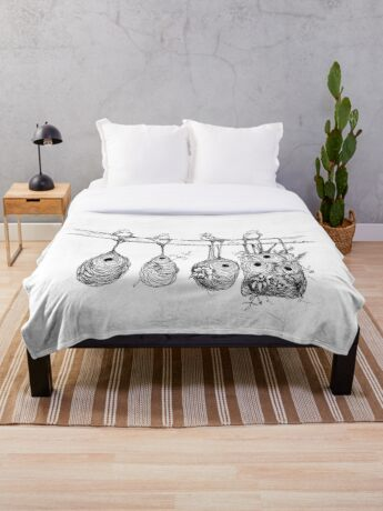 Oriole Nests - No place like home (white) Throw Blanket