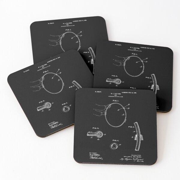 Hula Hoop Patent - Black Coasters (Set of 4)