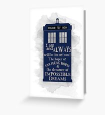 Dr Who - The Optimist quote  Greeting Card