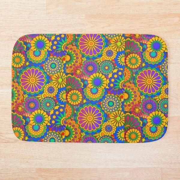 Psychadelic Hippie Flower Power Design Bath Mat