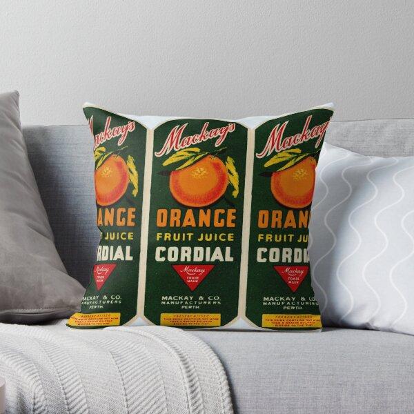 Mackay's Orange Fruit Juice Cordial State Library of Western Australia Throw Pillow