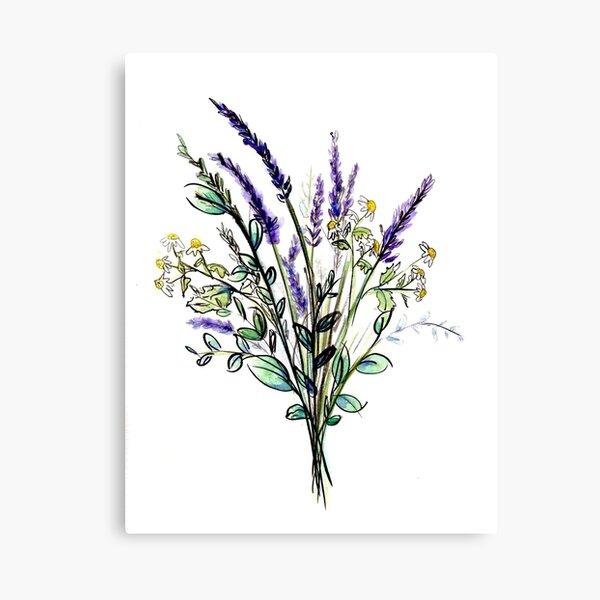 Watercolor Wildflower Bouquet Canvas Print