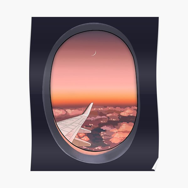 Plane window in the night Poster