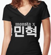 Monsta X Minhyuk Name/Logo 2 Women's Fitted V-Neck T-Shirt