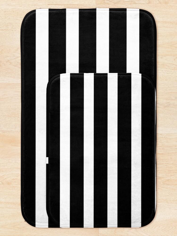 Alternate view of Thick Black and White Striped Bath Mat Bath Mat