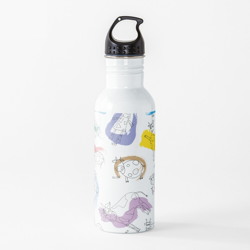 Funny cows line drawing with color splashes Water Bottle