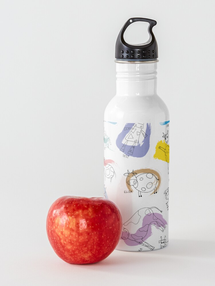 Alternate view of Funny cows line drawing with color splashes Water Bottle