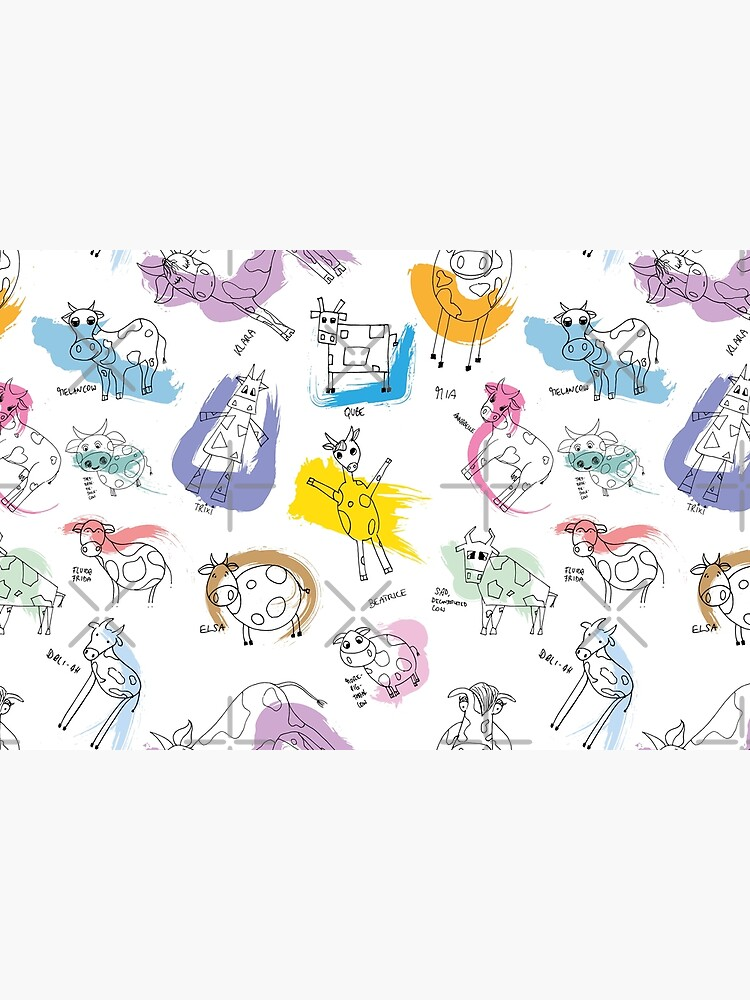 Funny cows line drawing with color splashes by nobelbunt