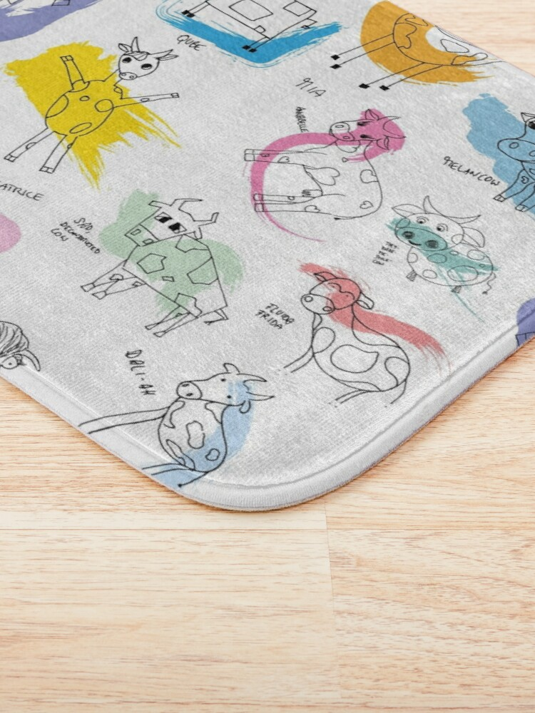 Alternate view of Funny cows line drawing with color splashes Bath Mat