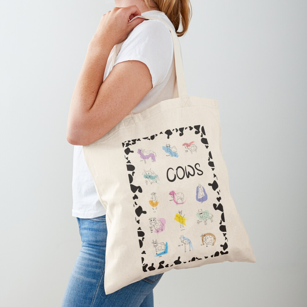 Funny cows line drawing with color splashes Tote Bag