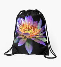 Luminous Blue Water Lily Drawstring Bag