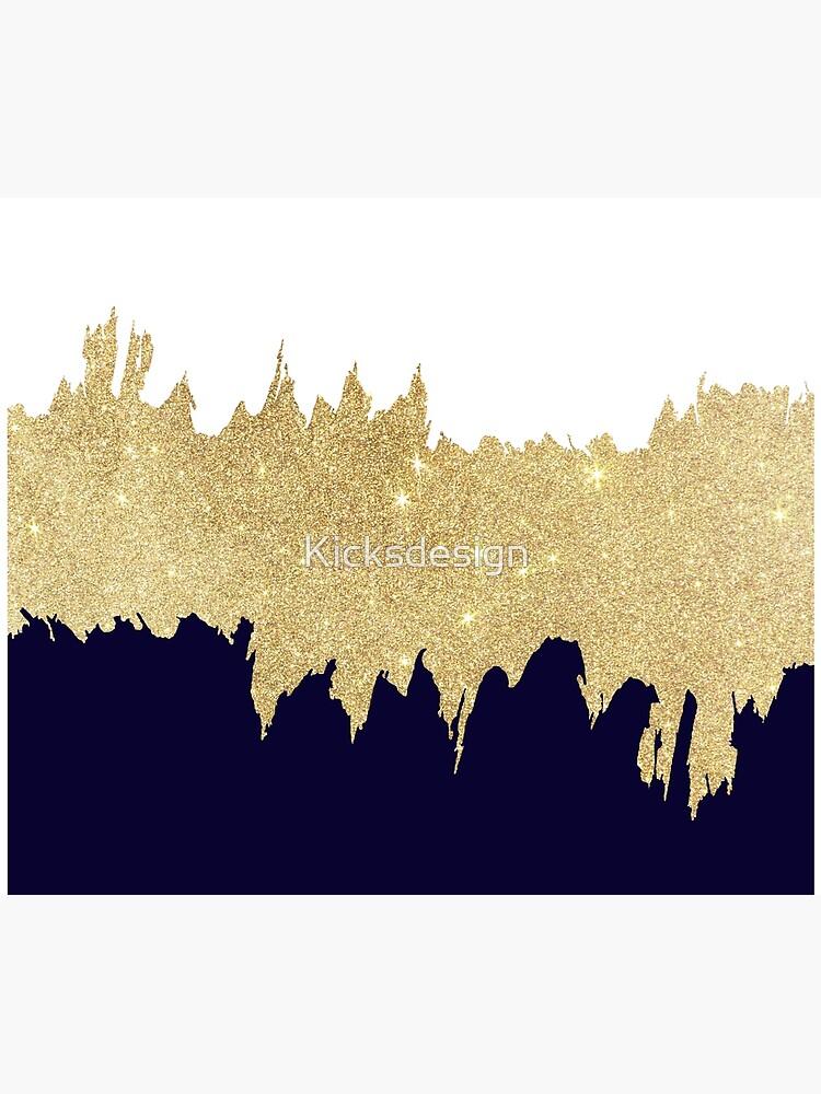 Modern navy blue white faux gold glitter brushstrokes by Kicksdesign