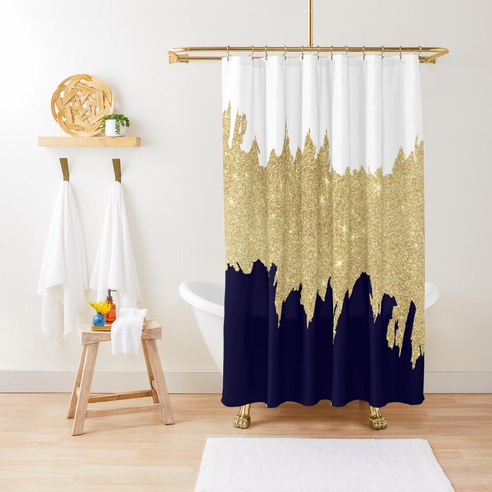 Modern navy blue white faux gold glitter brushstrokes Shower Curtain