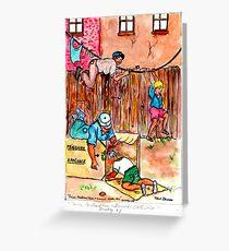 Fences,Cardboard Boxes and Grandmas Clothesline Greeting Card