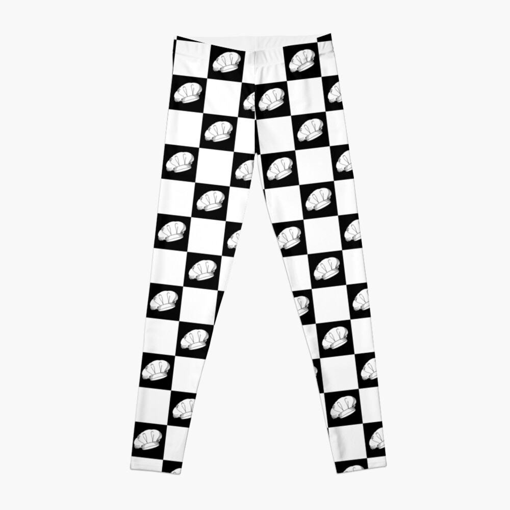 Black and White Checkered Chef Hats Pattern Leggings